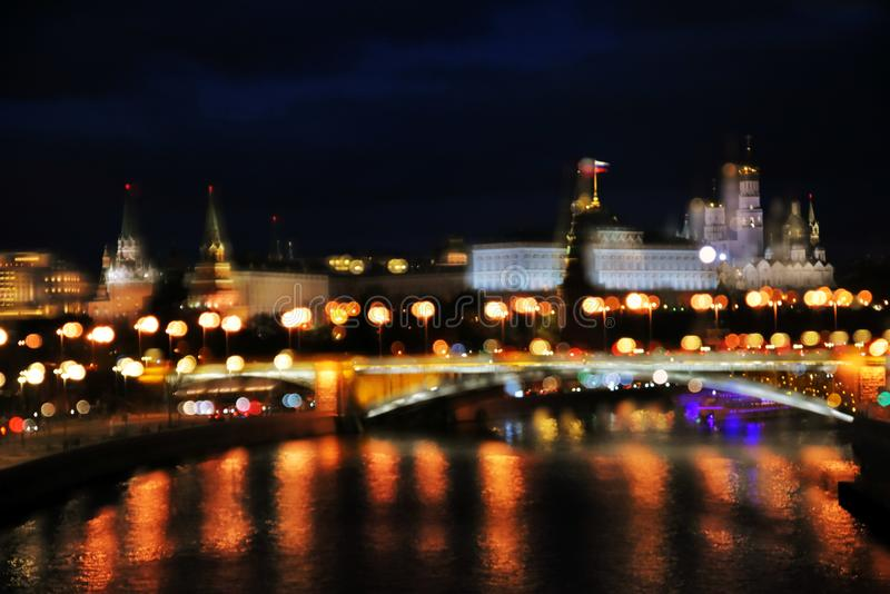Moscow Kremlin and other Moscow city landmarks at night. Artistic collage royalty free stock images