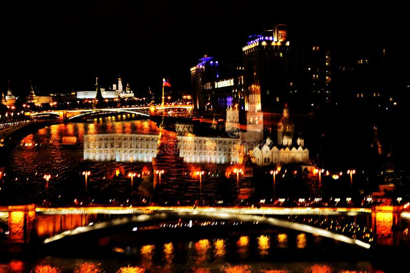 Moscow Kremlin and other Moscow city landmarks at night. Artistic collage stock photo
