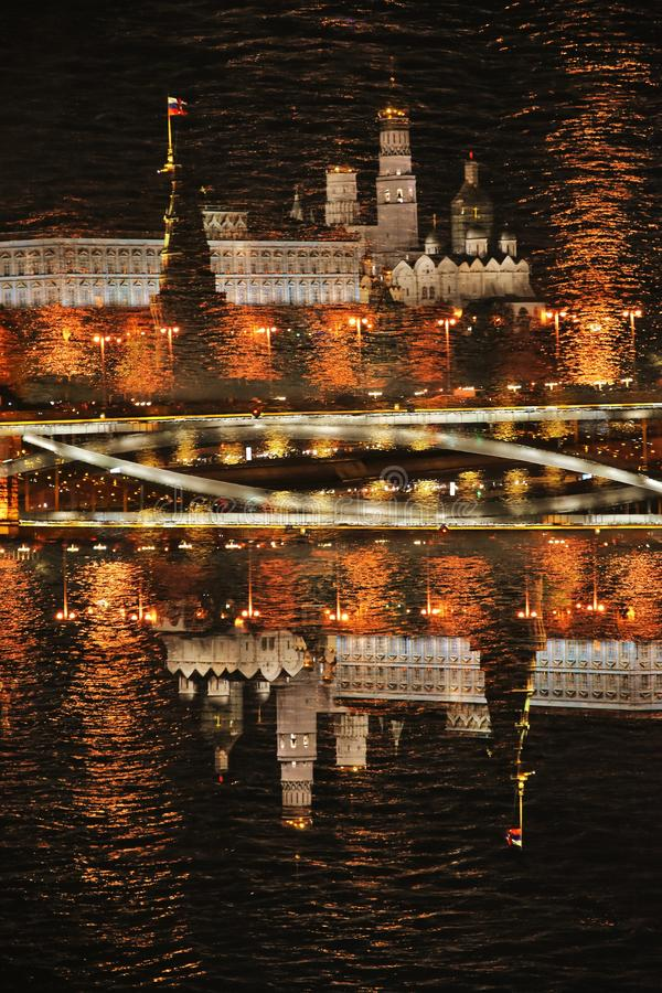 Moscow Kremlin and other Moscow city landmarks at night. Artistic collage stock image