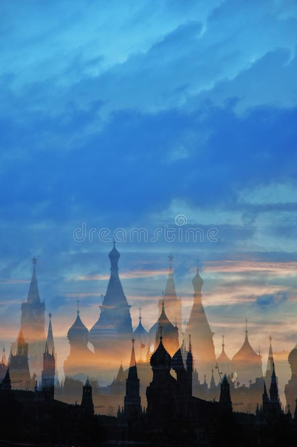 Moscow Kremlin and other Moscow city landmarks at night. Artistic collage royalty free stock photography