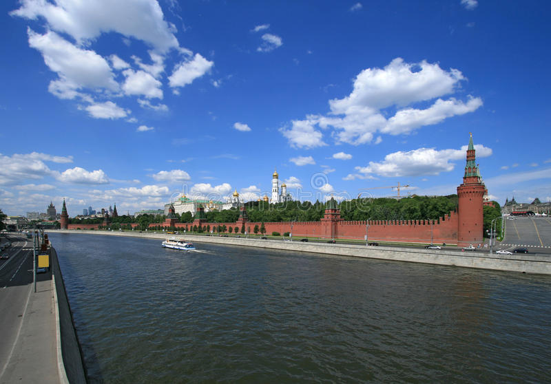Moscow Kremlin on the river. Moscow Kremlin and the Moscow river royalty free stock images