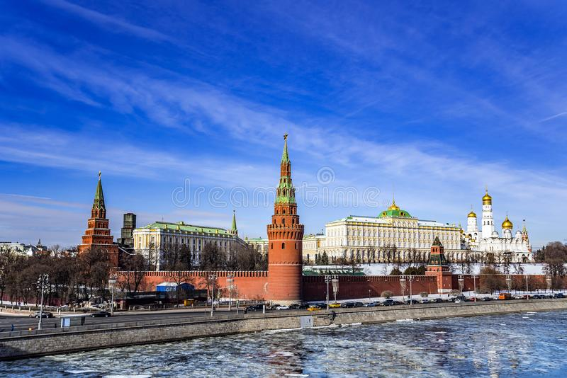 Moscow Kremlin and Moscow River in early spring in March during the ice break. Russia. View of the Moscow Kremlin and Moscow River in early spring in March royalty free stock image