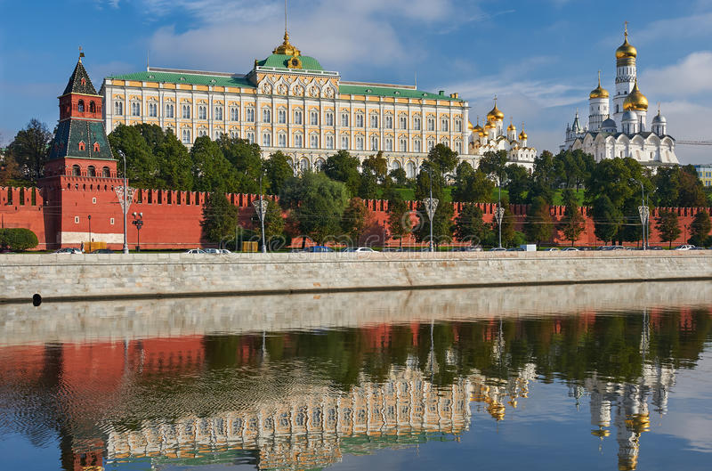 Moscow Kremlin, Russia. Beautiful and Famous view of Moscow Kremlin Palace and Churches, Russia stock image