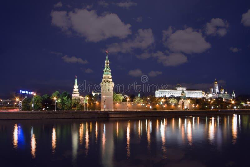 Moscow, Kremlin skyline at night. Kremlin wall and Moscow river at night royalty free stock photography