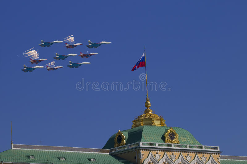 Moscow Kremlin from the Sofia quay in celebration of the Victory stock photos