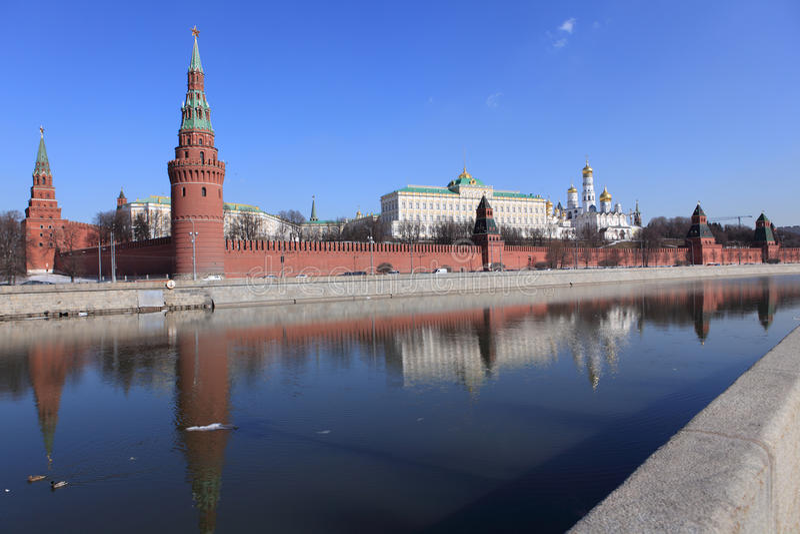 Moscow Kremlin in springtime stock image