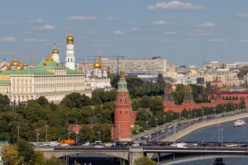 Moscow Kremlin with towers. Assumption Cathedral, in the Kremlin. Grand Kremlin Palace. stock images