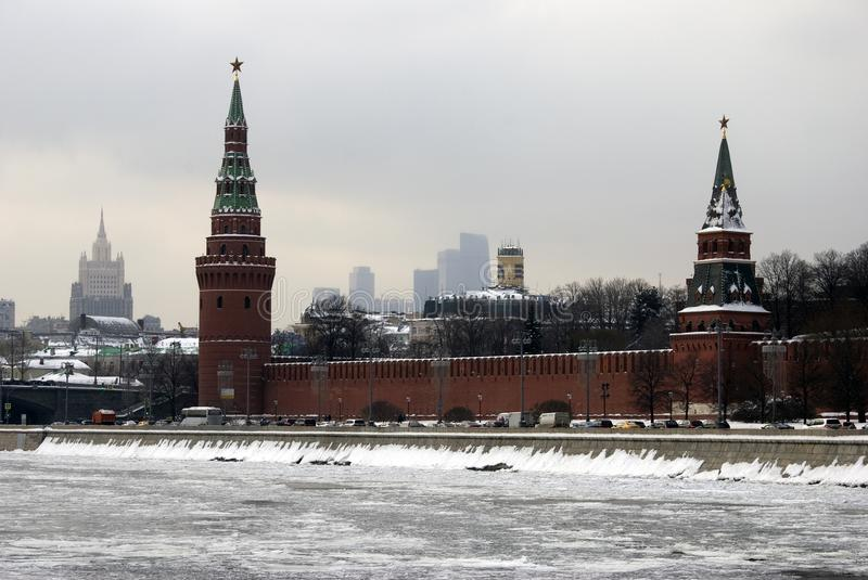 Moscow Kremlin towers. Color winter photo. Kremlin is a UNESCO World Heritage Site stock images