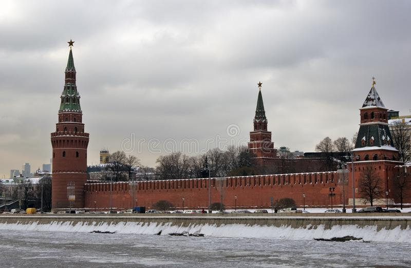 Moscow Kremlin towers. Color winter photo. Kremlin is a UNESCO World Heritage Site stock image