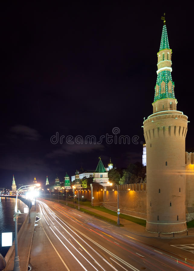 Moscow Kremlin towers in night. Moscow, Russia stock photos