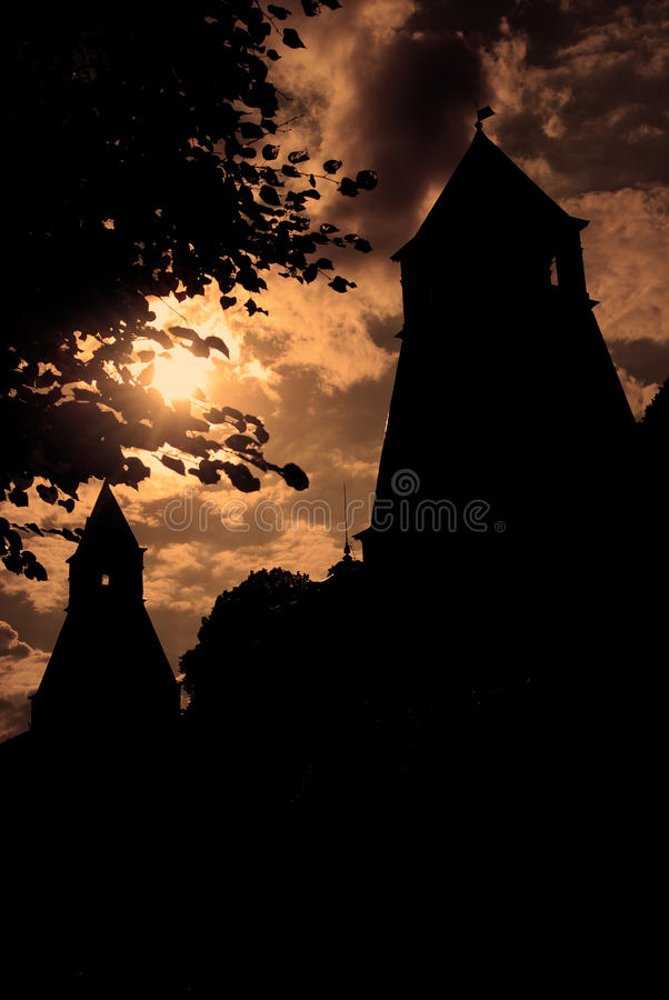 Moscow Kremlin towers silhouette. In sepia tones stock photos