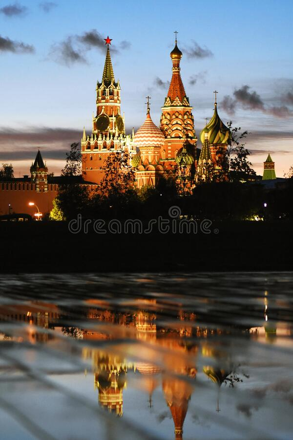 Moscow Kremlin view at night. royalty free stock images