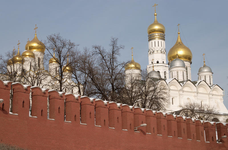 Moscow Kremlin wall and Cathedrals cupolas stock photo