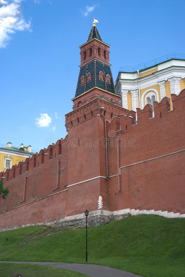 Moscow Kremlin wall and tower in Alexander Garden royalty free stock images