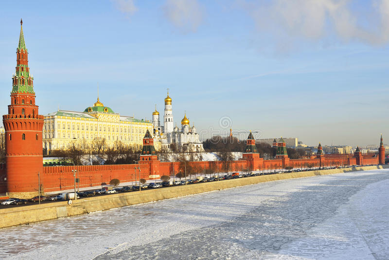 Moscow Kremlin in winter. Moscow Kremlin , sometimes referred to as simply the Kremlin, is a historic fortified complex at the heart of Moscow, overlooking the royalty free stock photography