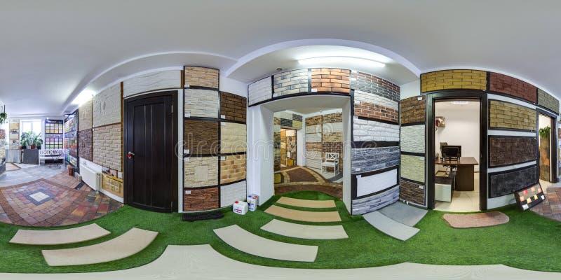 Moscow-2018: kugelförmiges Panorama 3D mit 360-Grad-Betrachtungswinkel des Baumarktinnenraums mit Pflasterstein und dekorativem T lizenzfreies stockfoto