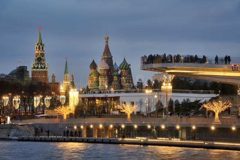 Moscow Landmarks Framed by Lights of Zaryadye Park in Twilight royalty free stock images