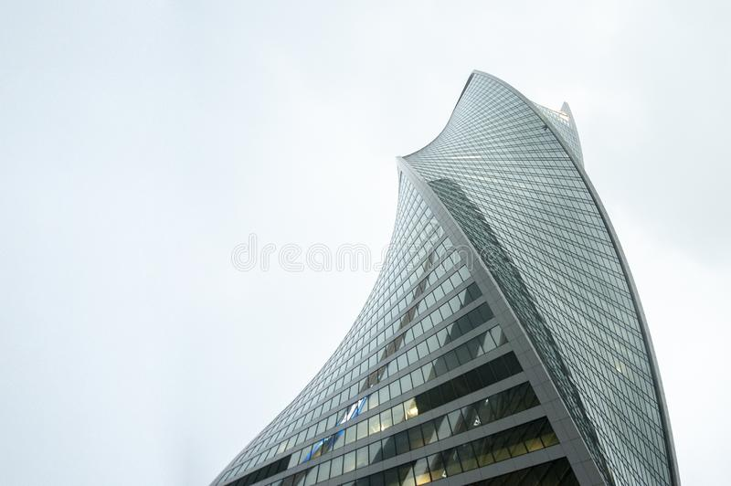 MOSCOW - 25.10.2015: low angle view of skyscrapers in Moscow-city, Russia. new business district center of Moscow stock photography