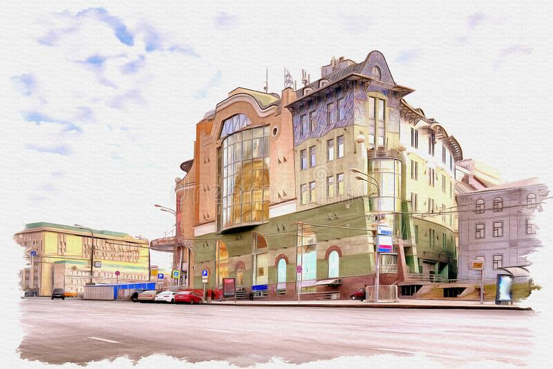 Moscow. Lubyanka Square. Nautilus Shopping Centre. Imitation of a picture. Oil paint. Illustration stock photos