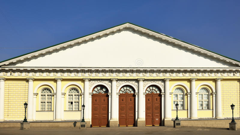 Moscow Manege (1825). Is large oblong building which gives its name to vast Manege Square royalty free stock photography