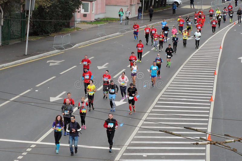 Moscow Marathon runners stock photography