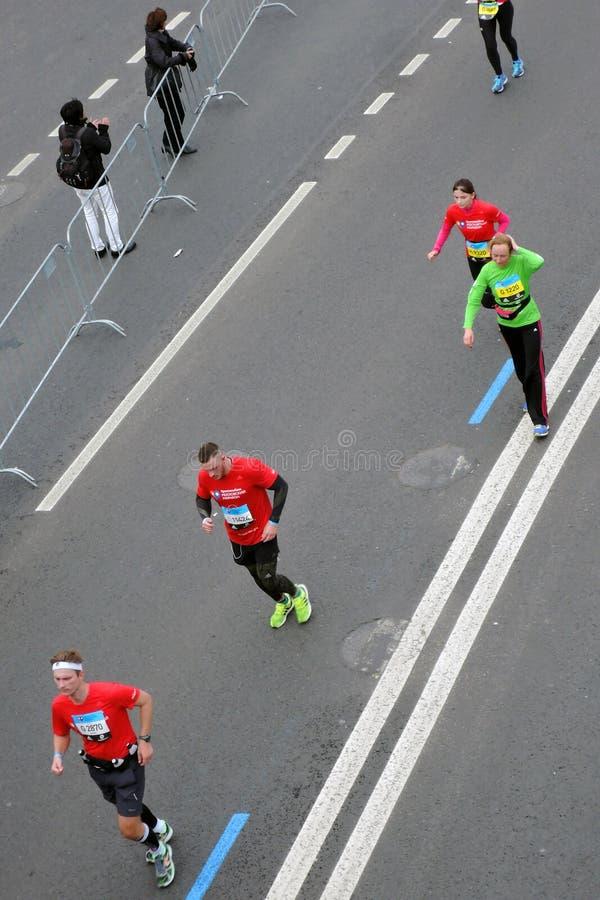 Moscow Marathon runners stock photo