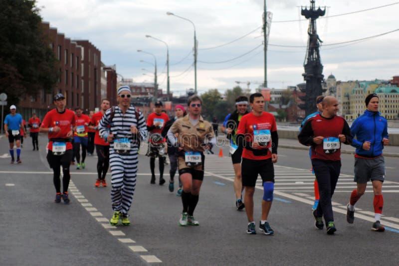 Moscow Marathon runners royalty free stock photo