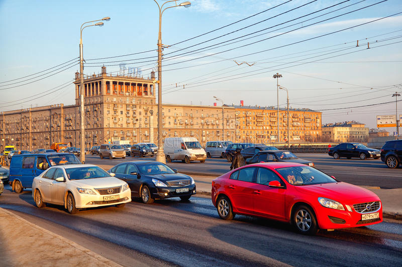 Moscow - march 20: cars driving on Kutuzov Avenue in Moscow. Russia, Moscow, march 20, 2015 royalty free stock photos