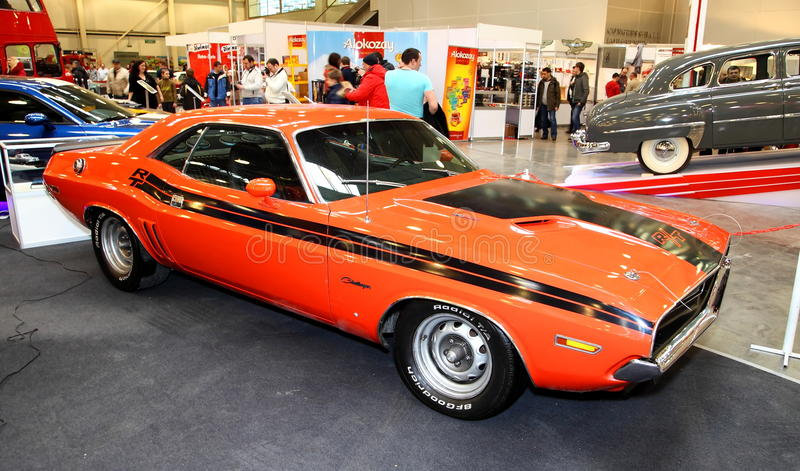 MOSCOW - MARCH 9: Dodge Challenger is exposed at the XXI International exhibition of the antiques and Retro automobiles on March royalty free stock photography