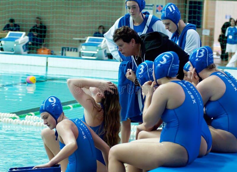 Trainer Ingrid Veenhuis on timeout royalty free stock photo