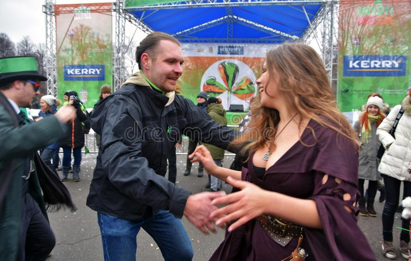 Saint Patrick`s Day celebration in Moscow stock photography
