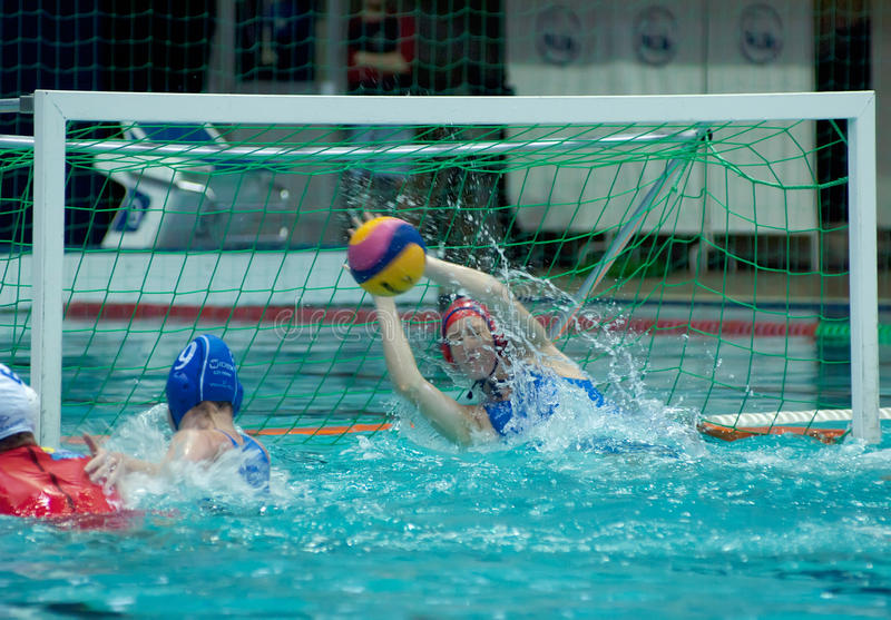 Waterpolo. Women. Safe of the gate stock images