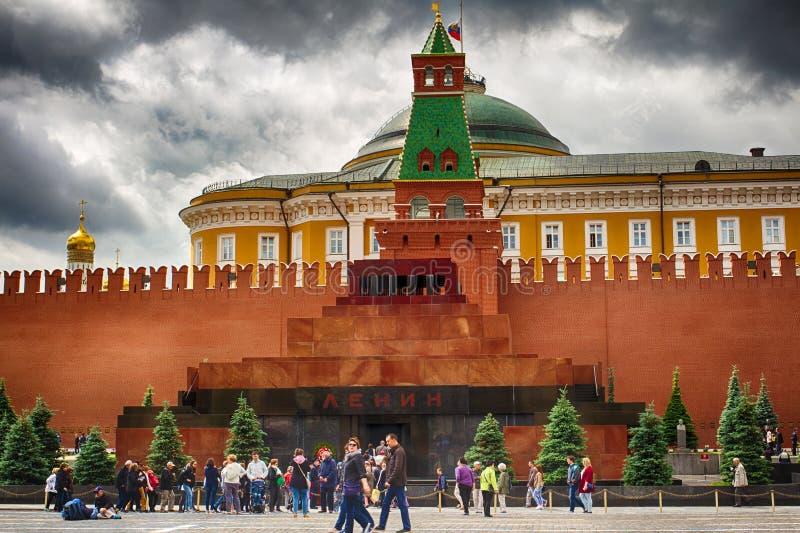 moscow Mausoleet för röd fyrkant Mamman av Vladimir Lenin Kryptan i Ryssland fotografering för bildbyråer