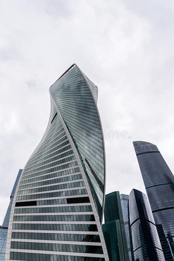 MOSCOW - MAY 21, 2017: Low angle view of Moscow-City skyscrapers. Moscow-City International Business Center is a. Commercial district in central Moscow stock photography