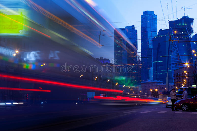 Moscow - May.22. Moscow city night landscape royalty free stock photography
