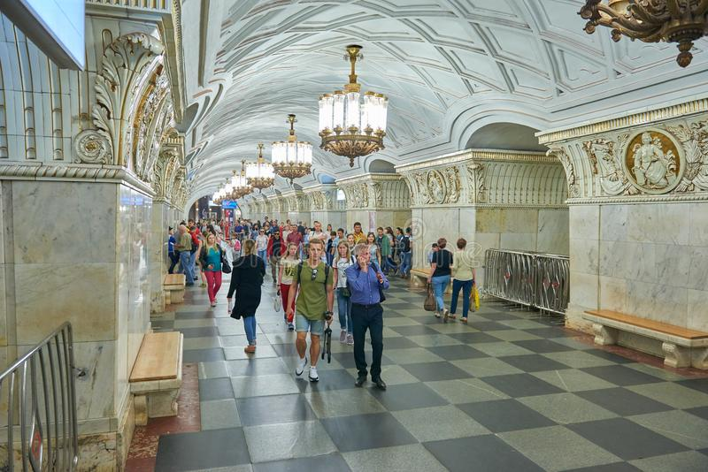 MOSCOW, MAY, 13, 2018: People diversity at russian subway metro station. Subway people. Most beautiful Moscow subway interior of U stock photo