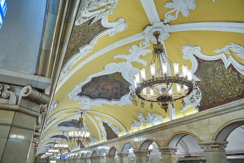 MOSCOW, MAY, 13, 2018: View of subway metro station Komsomolskaya the most beautiful interior with stucco plasterwork, metallic mo stock photos