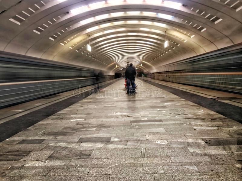 Moscow metro. Infinity Train. Photo from the famous metro station in Moscow, Babushkinskaya stock images