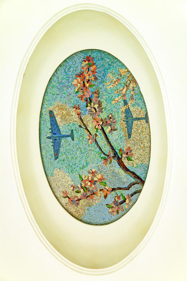 Moscow metro, mosaic: Apple blossom, airplanes royalty free stock image