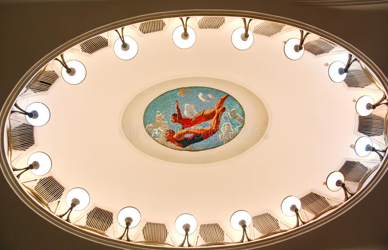 Moscow metro, mosaic on a ceiling: synchronized diving stock photography