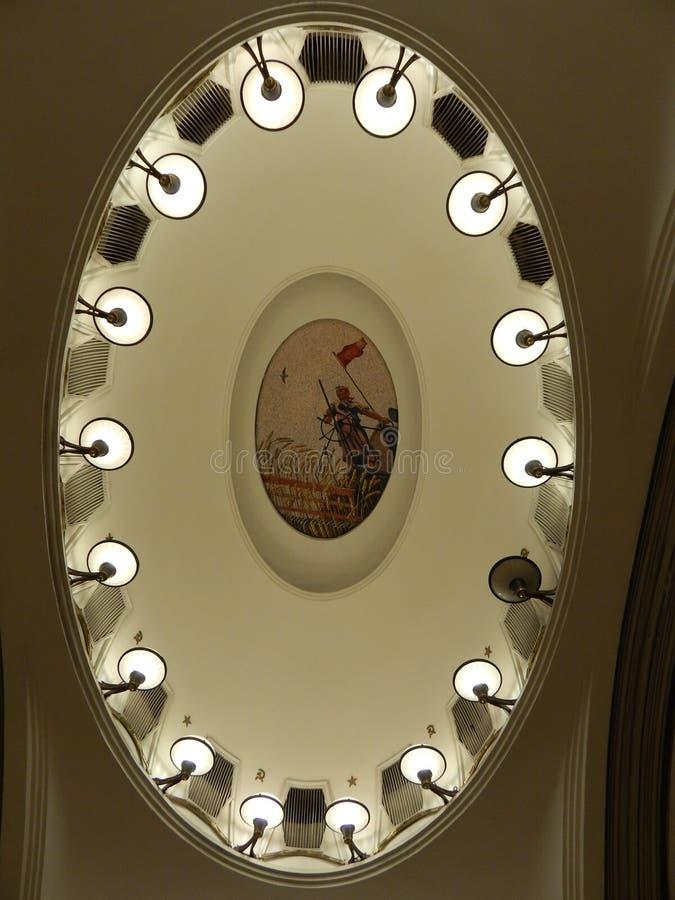 Moscow metro mosaic stock photo
