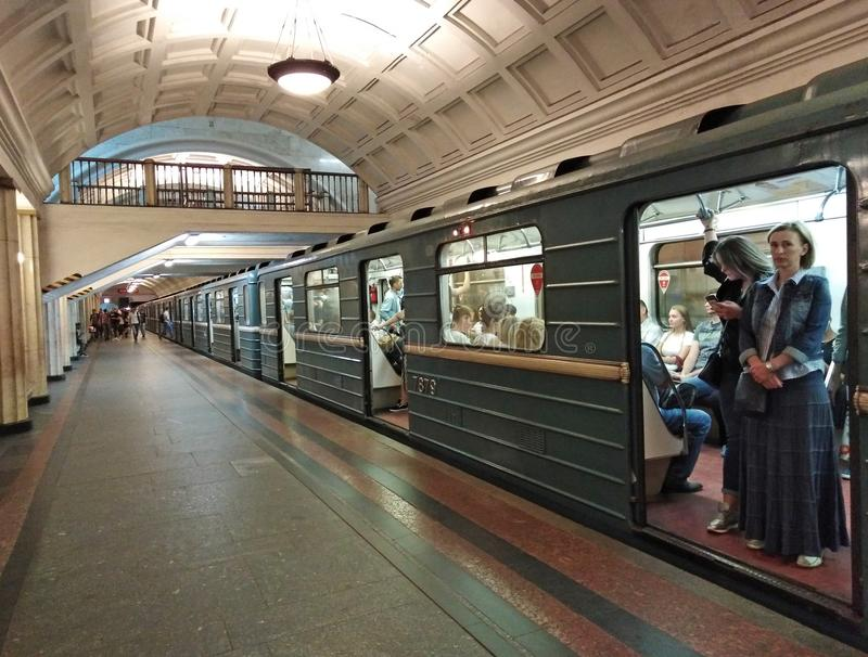 Moscow Metro train on Okhotniy Ryad station stock photo