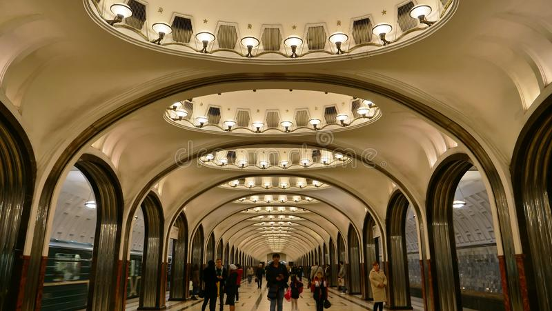 Moscow metro station beautiful interior decoration, Russia stock image