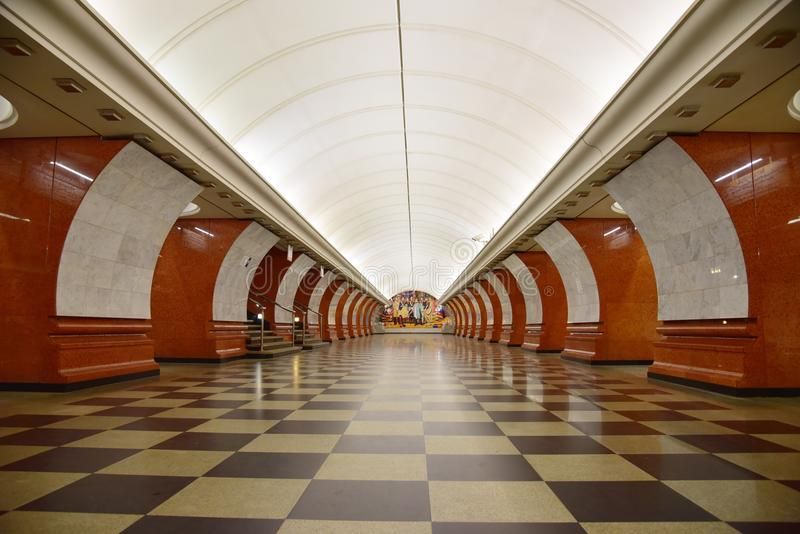 Moscow Metro. Metro station in Moscow. One of the most beautiful metro in Moscow royalty free stock images