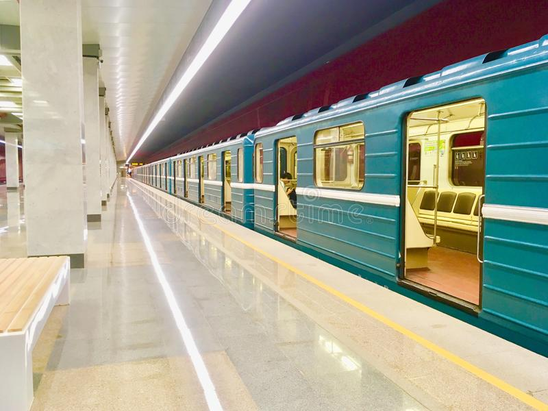 Moscow Metro train at the Kommunarka Sation. The most common Moscow Metro train design operating in 90th, 2000nds and 2010th in Moscow, Russia stock image