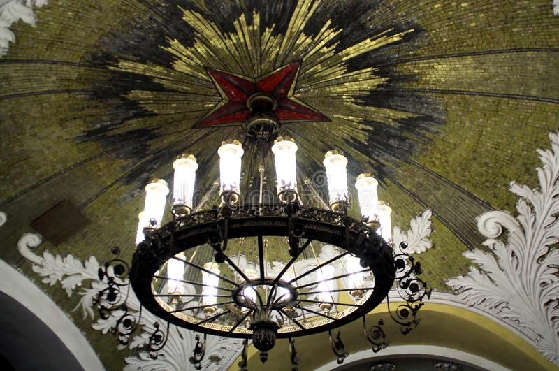 In the Moscow metro. Walk around Moscow in the days of the celebration of Christmas and New Year. Views of Moscow from attractions to suburbs. January 8, 2019 royalty free stock photos
