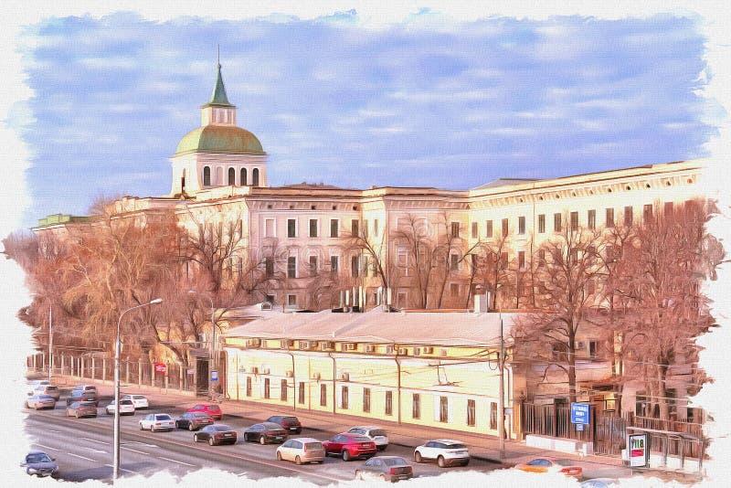 Moscow. Moskvoretskaya embankment. Imitation of a picture. Oil paint. Illustration stock photos