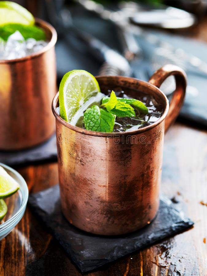 Free Moscow Mule Cocktail In Copper Mug Stock Images - 143864404