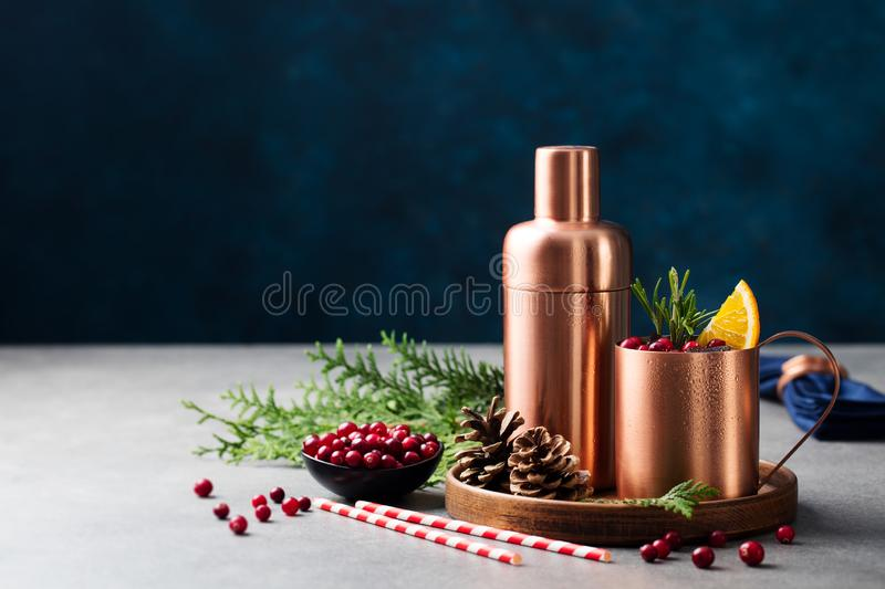 Moscow mule cocktail set, Christmas and New Year holiday drink. Copy space. royalty free stock photography