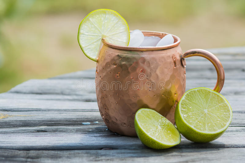 Download Moscow Mule In Copper Cup With Limes Stock Photo - Image: 59720506